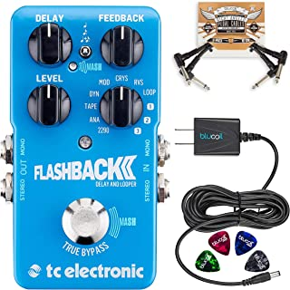 TC Electronic Flashback 2 Delay Pedal with TonePrint Bundle with Blucoil Power Supply Slim AC/DC Adapter for 9 Volt DC 670mA, 2-Pack of Pedal Patch Cables and 4-Pack of Celluloid Guitar Picks