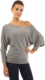 PattyBoutik Women's One Shoulder Batwing Sweater Knit Top
