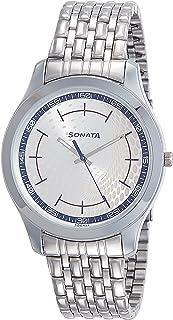 ساعة سوناتا انالوج مينا فضية للرجال -77063SM05