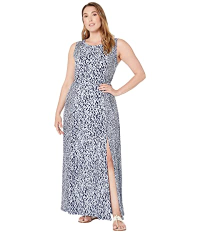 MICHAEL Michael Kors Plus Size Mix Ikat Seamed Maxi (Shore Blue) Women