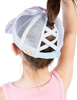 Girl's Criss Cross Hat Messy Bun High Ponytail Kids...