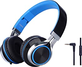 Headphones, FOSTO FT58 Stereo Foldable Headset Strong Low Bass Headphones with Microphone for iPhone, All Android Smartphones, PC, Laptop, Mp3/mp4, Tablet Earphones(Blue)