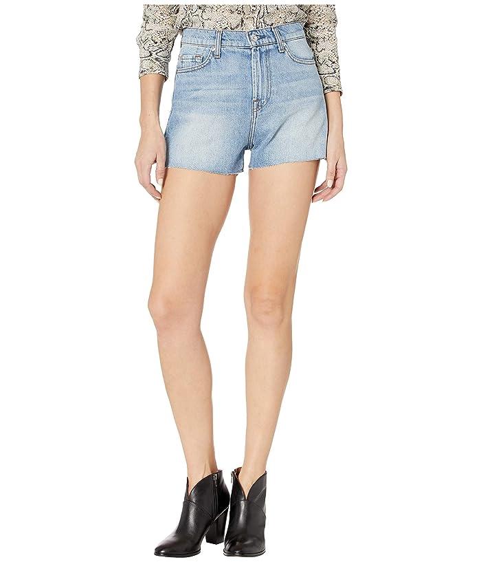7 For All Mankind  High-Waist Shorts with Fray Hem in Prairie Sky (Prairie Sky) Womens Shorts