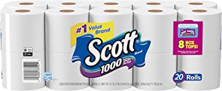 Scott 1000 Sheets Per Roll Toilet Paper, 27 Rolls, Sewer-Safe, Septic-Safe, 1-Ply Bath..