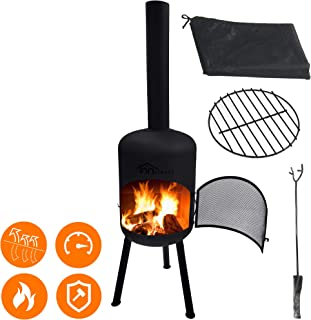 4-in-1 Modern Steel Chiminea Set - Durable Wood Burning Fire Pit - Easy Assembly Large 63.5
