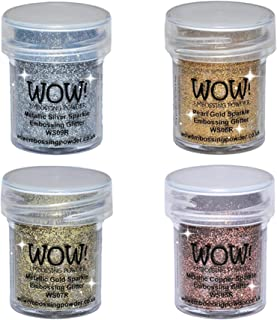 WOW! Sparkle Bundle - Embossing Powders 4 (15ml) Jars Metallic Gold Sparkle, Metallic Copper Sparkle, Pearl Gold Sparkle and Metallic Silver Sparkle