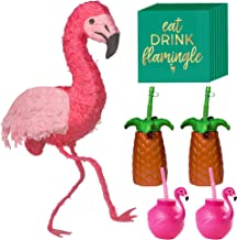 Party City Pink Flamingo Party Kit for 4 Guests, Party Supplies, Includes Pinata, Stylish Cups and Cocktail Napkins