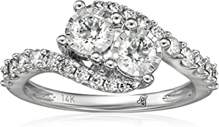 10k 2 Stone Diamond Miracle Plate Engagement Ring (1cttw, H-I Color, I2-I3 Clarity), Size 7