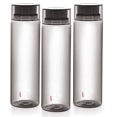 Cello H2O Unbreakable  Bottle , 1 Litre, Set of 3, Black
