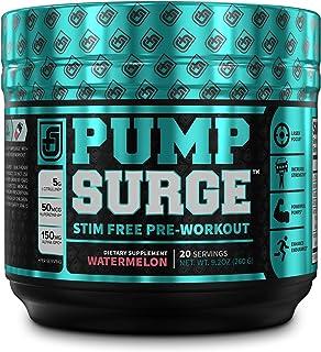 PUMPSURGE Caffeine Free Pump & Nootropic Pre Workout Supplement, Non Stimulant Preworkout Powder & Nitric Oxide Booster,20...