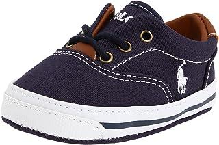 Ralph Lauren Layette Vaughn Crib Shoe (Infant/Toddler) Soft Sole,Navy Canvas 2,3 M US Infant