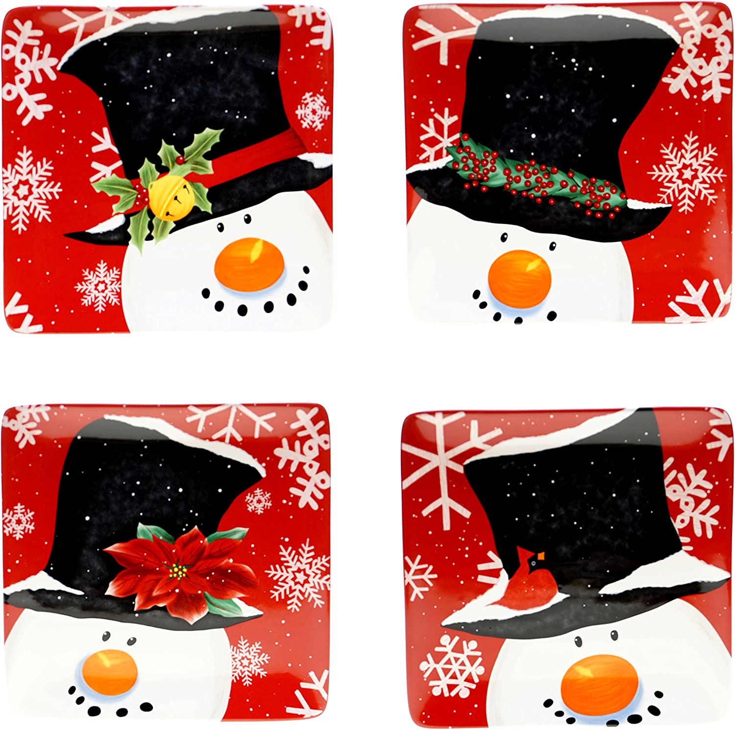 Certified International Top Hat Snowman Dessert Plates (Set of 4), 8.25 , Multicolor