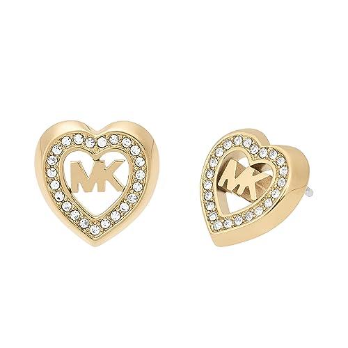 69aa401742bea Michael Kors Womens Gold-Tone Heart Stud Earrings