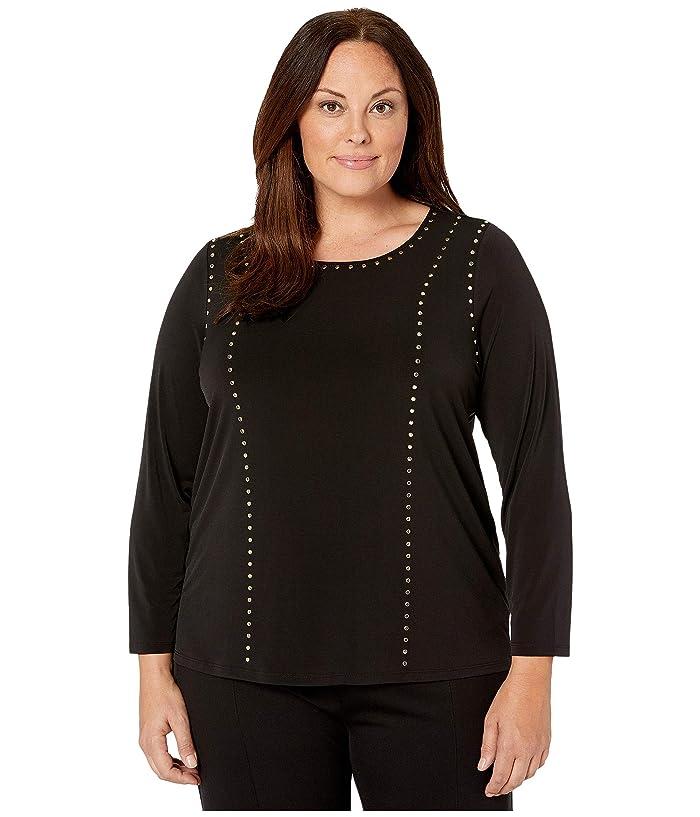 Plus Size Crew Neck with Stud Detail (Black) Women's Clothing