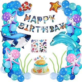 Decoraciones de Fiesta Cumpleaños, 102Pcs Globos de Fiesta Decoración del Tema Mar, Feliz Cumpleaños Banner para Niña Pequeña Niño(Azules y Blanco)