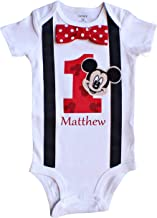 Perfect Pairz Baby Boys 1st Birthday Outfit Mouse Bodysuit RedPZ(12M Short Sleeve)