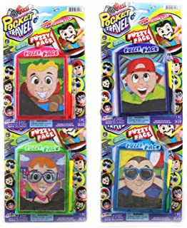 JaRu Pocket Travel Mini Magnetic Fuzzy Face Personalities for Kids On The Go Fun (4 Pack)