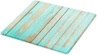 Lunarable Aqua Cutting Board, Worn out Wooden Planks Faded Paint Marks Vintage Grunge Hardwood Image Rustic Design, Decorative Tempered Glass Cutting and Serving Board, Large Size, Aqua Tan