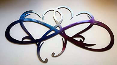 Dual Infinity Hearts Metal Wall Art Accent Two Hearts Become One