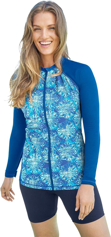 Swimsuits For All Women's Plus Swim Long-Sleeve Colorblock Size 送料込 新作からSALEアイテム等お得な商品 満載