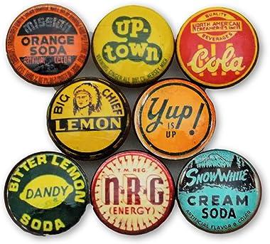 Set of 8 Vintage Soda Cap Wood Cabinet Knobs (Set 2)