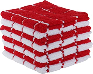 """The Weaver's Blend Set of 8 Terry Dish Cloths, Check Design, 100% Cotton, Absorbent, Size 12""""x12"""", Red Check,Kitchen Towels and Dish Cloths"""