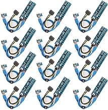 Ubit PCI-E Riser,Powered Riser Adapter Card,PCIE VER 006C 6 PIN 16x to 1x, 6-Pin PCI-E to SATA Power Cable,for BitcoinLitecoinETH coin - GPU Riser Adapter - Ethereum Mining ETH(12 Pack)