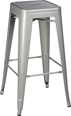 Pioneer Square Silver Bar Stool, 30-Inch