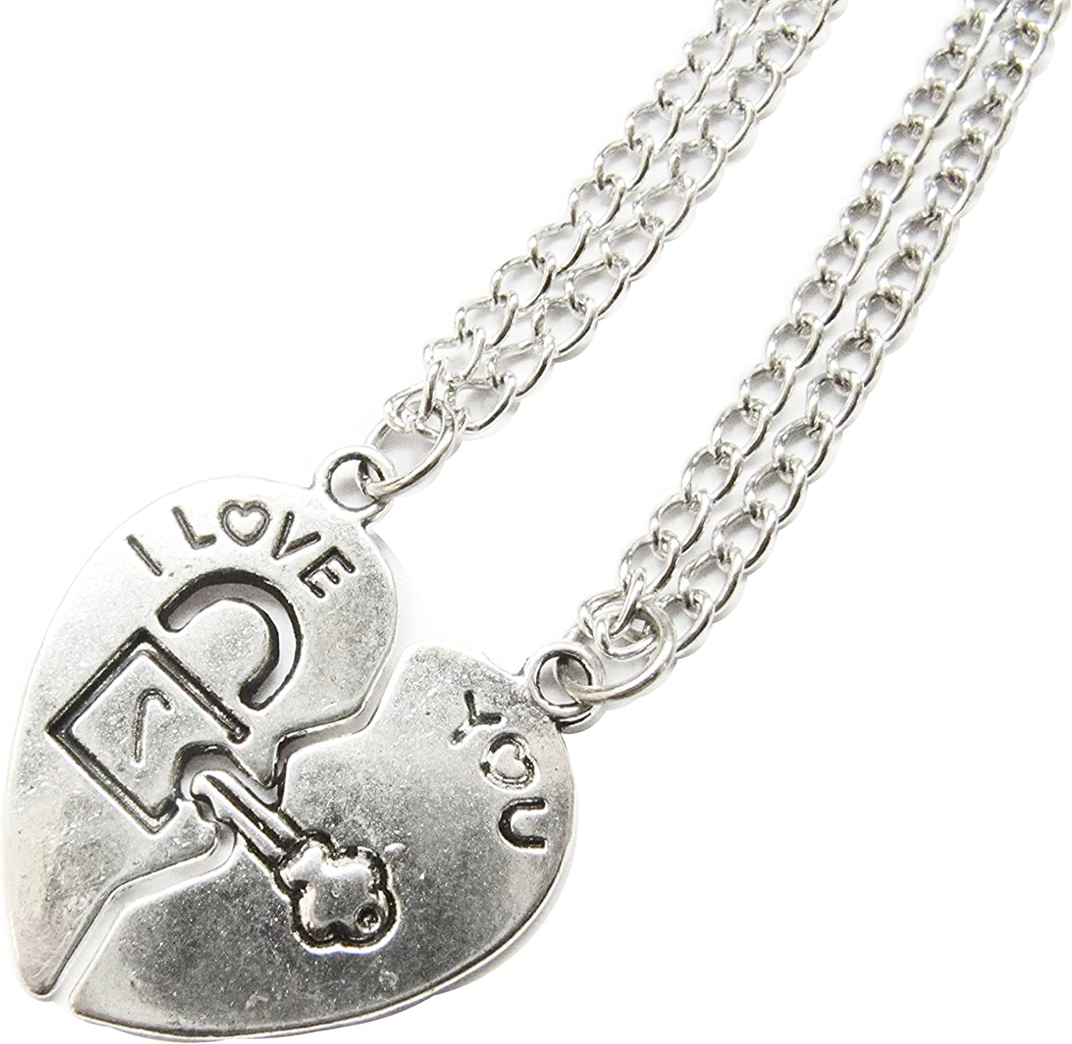 I Love You Heart Necklaces,Couples Pair of Split Half Heart Necklaces - His & Hers Jewelry, Love Necklace