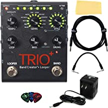 DigiTech TRIO+ Band Creator + Looper Pedal Bundle with Power Supply, Instrument Cable, Patch Cable, Picks, and Austin Baza...