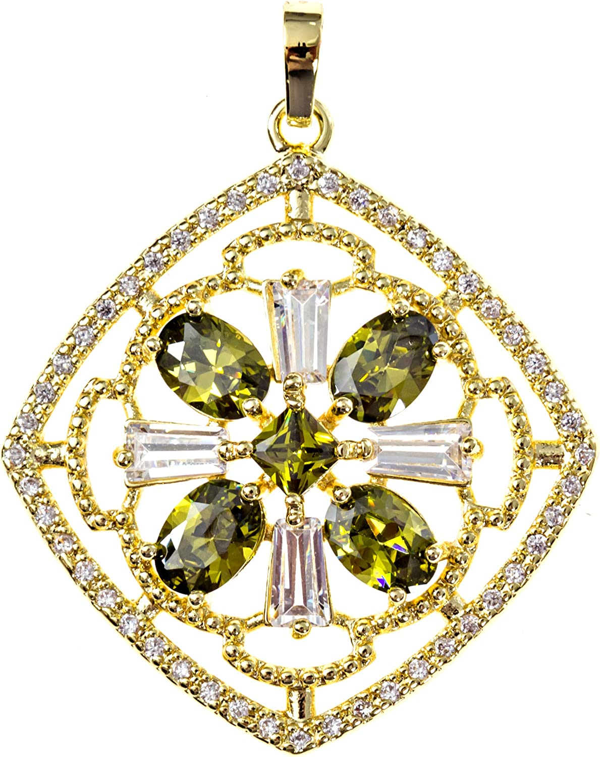 Ray Jewelry Non Tarnish Diamond Shape Hollow Out Green and Gold Pendant for Women Girls