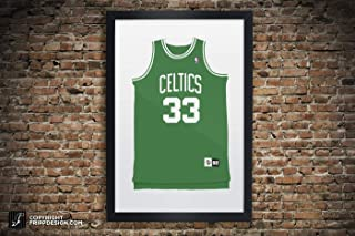 Vintage Boston Celtics Jersey Illustrations Bird, Russell, Pierce, Garnett, Allen, Havlicek Premium Print Wall Art in Various Sizes