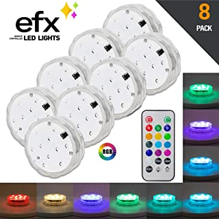 EFX LED Lights - Premium Submersible L.E.D - with Remote, Multi-Color Waterproof Underwater Light [Battery Operated], Perfect for Decorating Events, Pools, Aquariums, Hot Tubs, Vases, Garden (8 Pack)