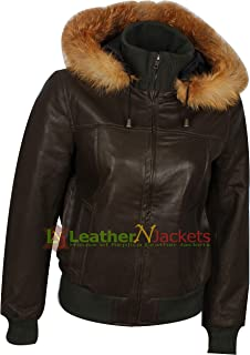 The Jacket Makers Women Hooded Leather Bomber Jacket with Fur Collar. (Free Surprise Gift On Each Buy