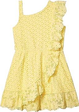 Cotton Eyelet One Shoulder Scallop Ruffle Dress (Big Kids)