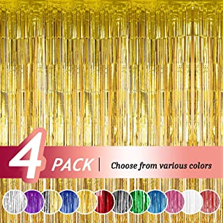 Joyclub Gold Foil Curtains Photo Booth Backdrop Tinsel Foil Fringe Curtain for Birthday Wedding Engagement Bridal Shower Baby Shower Bachelorette Christmas Party Decorations(12ft*8ft, 4 Pack)