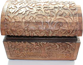 Handarbeit aus Echtholz Gr/ö/ße:Set Schatzkiste mit dekorativer Holzschnitzerei nxtbuy Drachentruhe Schatztruhe aus Echtholz