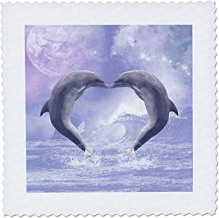 3dRose Two Kissing Dolphins Forming a Heart in A Purple Ocean - Quilt Square, 12 by 12-Inch (qs_172927_4)