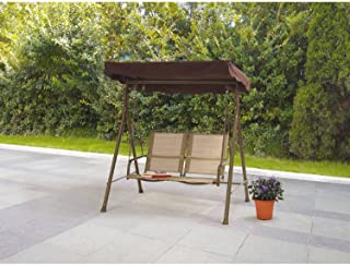 Mainstays Sand Dune 2-Seat Sling Swing Comfortable Ventilated Seat Polyester Fabric Sling Powder Coating Steel Frame Waterproofing Fade Resistant, Beige