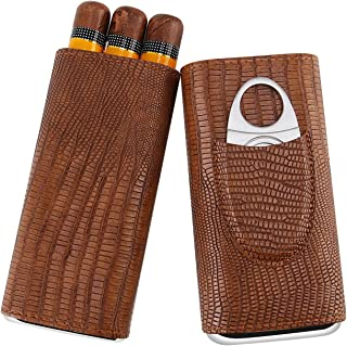 Fortune Nexus® Vintage Brown Cigar Portable Travel Case with Cedar Wood Lining and Stainless Steel Cutter in Gift Box