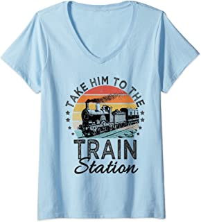Womens Retro Style Take Him To The Train Station Funny Vintage V-Neck T-Shirt