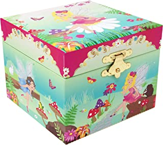 Pink Poppy Forest Fairy Small Floral Green 4 x 4 Skater's Waltz Music Jewelry Box