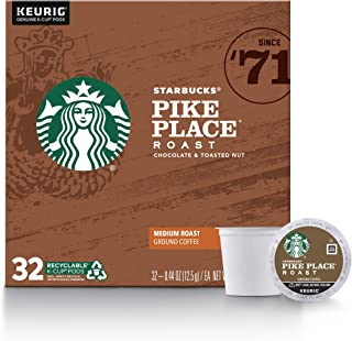 Starbucks Medium Roast K-Cup Coffee Pods — Pike Place Roast for Keurig Brewers — 1 box (32 pods)
