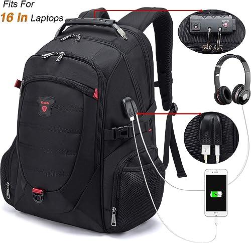 Tzowla Travel Laptop Backpack, Anti-Theft Water Resistant Business Backpack, TSA Lock & USB Charging Port, TSA Friend...