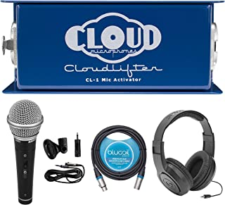 Cloud Microphones CL-1 Cloudlifter 1 Channel Mic Activator for Dynamic/Ribbon/Tube Microphone Bundle with Samson R21S Dynamic Microphone, SR350 Headphones, and Blucoil 10-FT Balanced XLR Cable