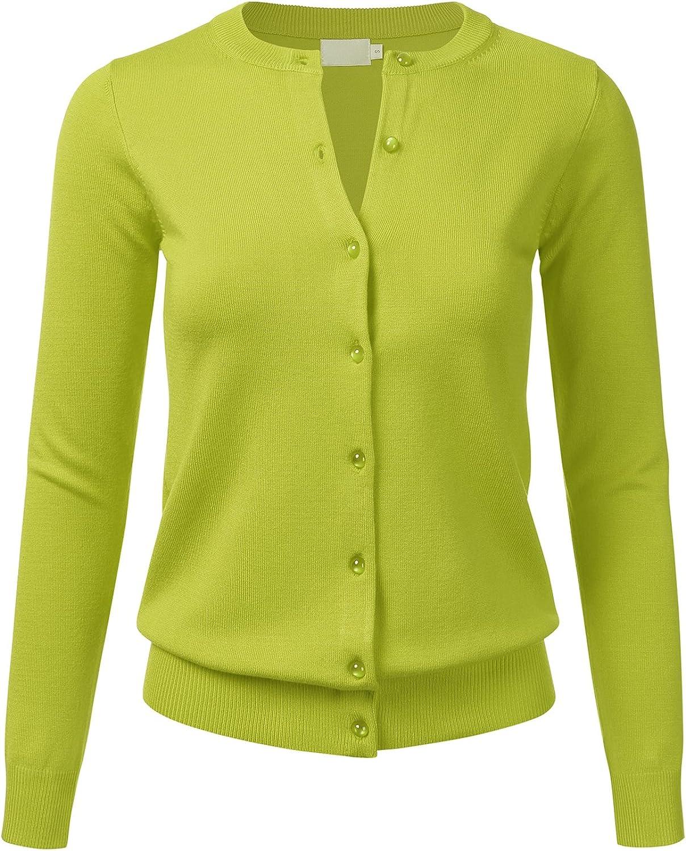 FLORIA Women's Gem Button Crew Neck Long Sleeve Soft Knit Cardigan Sweater Lime M