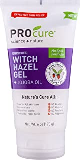 PROcure Witch Hazel Gel + Organic Jojoba Oil, 6 Ounce Tube, Nature's Helper, No Spill Formula is Great for All Skin Types.