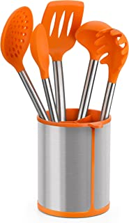 BRA Efficient Conjunto De 5 Utensilios De Cocina Y Carrusel, Acero INOX, Nailon y Silicona, Naranja, 14.5 x 15 x 37.5 cm