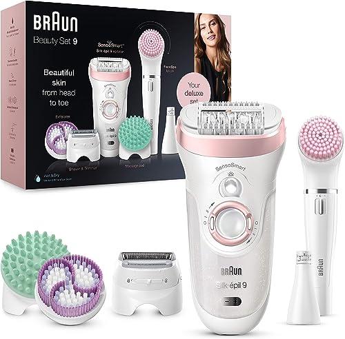Brun Silk-épil 9 Flex Depiladora Mujer 9en1 con Tecnología SensoSmart, Kit de Belleza Uso en Seco y en Mojado, Rasura...
