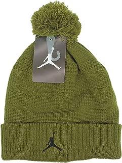 Jordan Jumpman Boys Winter Ski Snowboard Cuffed Hat Ribbed Pom Beanie, Military Green, Size 8/20